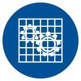 GJM027 - Nakaz stosowania osłony - znak bhp nakazujący - Organizacja stanowisk pracy a bezpieczeństwo pracowników