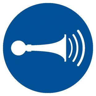 GJM029 - Nakaz używania sygnału dźwiękowego - znak bhp nakazujący