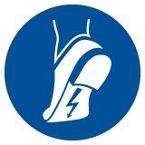 GJM032 - Nakaz stosowania obuwia antystatycznego - znak bhp nakazujący - Zasady stosowania znaków bezpieczeństwa