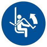 GJM034 - Otwórz zabezpieczenie wyciągu krzesełkowego - znak bhp nakazujący, informujący - Znaki BHP w miejscu pracy (norma PN-93/N-01256/03)