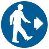 GK007 - Nakaz kierunku przejścia - znak bhp nakazujący - Obsługa maszyn i innych urządzeń technicznych