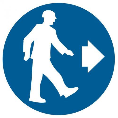 GK007 - Nakaz kierunku przejścia - znak bhp nakazujący - Obiekty budowlane na terenie zakładu pracy
