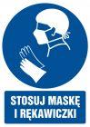 GL029 - Stosuj maskę i rękawiczki - znak bhp nakazujący, informujący