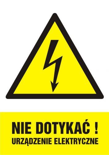 HA001 - Nie dotykać! Urządzenie elektryczne - znak sieci elektrycznych - Norma PN-E-08501:1998