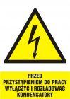 HA018 - Przed przystąpieniem do pracy wyłączyć i rozładować kondensatory - znak sieci elektrycznych