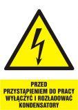 HA018 - Przed przystąpieniem do pracy wyłączyć i rozładować kondensatory - znak sieci elektrycznych - Prace w zbiornikach i przestrzeniach zamkniętych