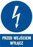 HE003 - Przed wejściem wyłącz - znak sieci elektrycznych - Norma PN-E-08501:1998