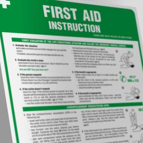 IAA11_AN - Angielska instrukcja udzielania pierwszej pomocy- First aid instruction - Apteczka w zakładzie pracy