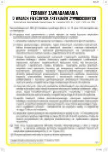 IAV01 - Terminy zawiadamiania o wadach fizycznych artykułów żywnościowych