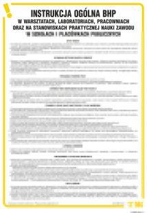 Instrukcja  ogólna BHP w warsztatach, laboratoriach, pracowniach oraz stan. prakt. nauki zawodu w szkołach i placówkach publ. - IAS02