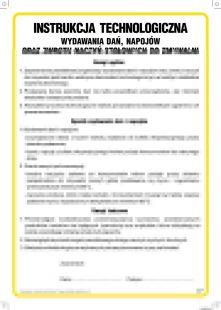 Instrukcja technologiczna wydawania dań, napojów oraz zwrotu naczyń stołowych do zmywalni - IAO54