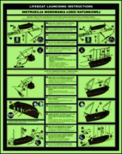 Instrukcja wodowania łodzi ratunkowej - znak morski - FD002