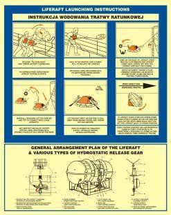 Instrukcja wodowania tratwy ratunkowej - znak morski - FD001