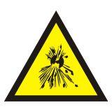JA004 - Ostrzeżenie przed substancjami wybuchowymi - znak bezpieczeństwa, ostrzegający - BHP przy pracach w zbiornikach