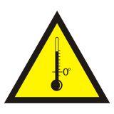JA007 - Ostrzeżenie przed wysokimi temperaturami - znak bezpieczeństwa, ostrzegający - Warunki higienicznosanitarne w miejscu pracy
