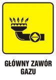 JD001 - Główny zawór gazu 1 - znak bezpieczeństwa, informujący, gazociągi - Tablice oznaczeniowe dla gazociągów