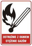 JD003 - Ostrożnie z ogniem - stężenie gazów - znak bezpieczeństwa, informujący, gazociągi - Tablice oznaczeniowe dla gazociągów