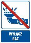 JD004 - Wyłącz gaz - znak bezpieczeństwa, informujący, gazociągi