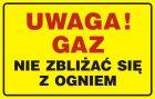 JD013 - Uwaga! Gaz - nie zbliżać się z ogniem - znak bezpieczeństwa, ostrzegający, gazociągi