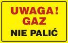 JD014 - Uwaga! Gaz - nie palić - znak bezpieczeństwa, ostrzegający, gazociągi