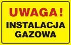 JD015 - Uwaga! Instalacja gazowa - znak bezpieczeństwa, ostrzegający, gazociągi