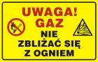 JD016 - Uwaga! Gaz - nie zbliżać się z ogniem - znak bezpieczeństwa, ostrzegający, gazociągi