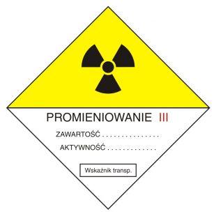 KA005 - Przesyłka transportowa kategorii III - znak bezpieczeństwa, ostrzegający, promieniowanie