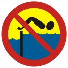 Kąpiel zabroniona - spiętrzenie wody - znak, kąpieliska - OH012