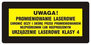 KB010 - Uwaga! - Chronić oczy i skórę przed prom. bezpośr. lub rozproszonym. Urządzenie laserowe kl. 4 - znak bezpieczeństwa, ostrzegający, laser