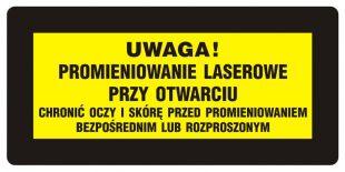 KB017 - Uwaga! - Chronić oczy i skórę przed promieniowaniem bezpośrednim i rozproszonym - znak bezpieczeństwa, ostrzegający, laser