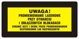 KB022 - Uwaga! - Chronić oczy i skórę przed promieniowaniem bezpośrednim i rozproszonym - znak bezpieczeństwa, ostrzegający, laser