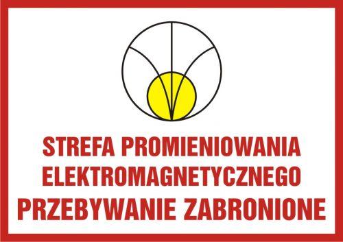 KC006 - Strefa promieniowania elektromagnetycznego. Przebywanie zabronione - znak bezpieczeństwa, ostrzegający, promieniowanie elektromagnetyczne - Promieniowanie elektromagnetyczne – BHP i znaki
