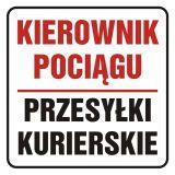 Kierownik pociągu. Przesyłki kurierskie - znak, naklejka kolejowa - SD015 - Znaki do pociągów – oznakowanie stosowane w wagonach pasażerskich