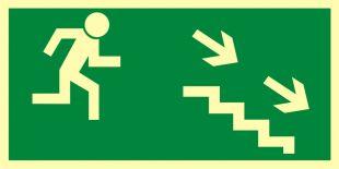 Kierunek do wyjścia drogi ewakuacyjnej schodami w dół w prawo - znak ewakuacyjny - AA004