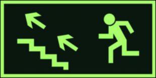 Kierunek do wyjścia drogi ewakuacyjnej schodami w górę w lewo - znak ewakuacyjny - AA006