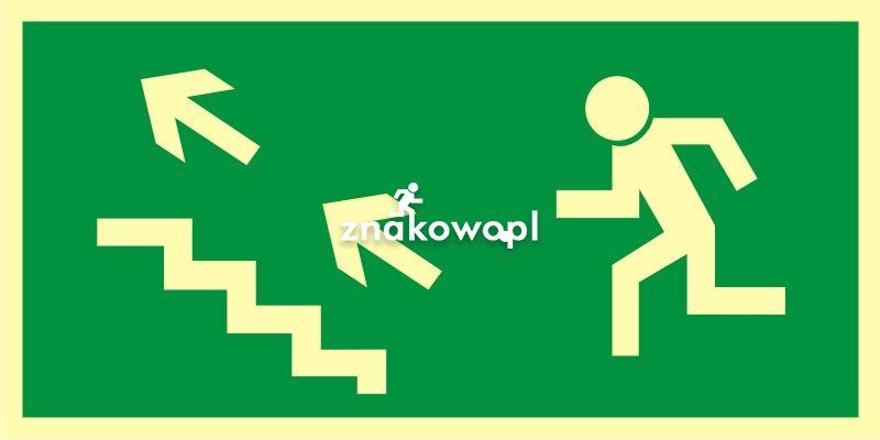 Kierunek do wyjścia drogi ewakuacyjnej schodami w górę w lewo - Placówki służby zdrowia – oznaczenia