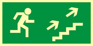 Kierunek do wyjścia drogi ewakuacyjnej schodami w górę w prawo