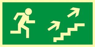 Kierunek do wyjścia drogi ewakuacyjnej schodami w górę w prawo - znak ewakuacyjny - AA007