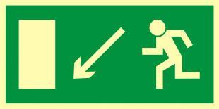 Kierunek do wyjścia drogi ewakuacyjnej w dół w lewo