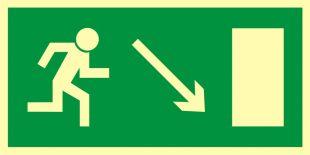 Kierunek do wyjścia drogi ewakuacyjnej w dół w prawo
