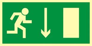 Kierunek do wyjścia drogi ewakuacyjnej w dół