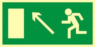 Kierunek do wyjścia drogi ewakuacyjnej w górę w lewo