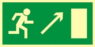 Kierunek do wyjścia drogi ewakuacyjnej w górę w prawo