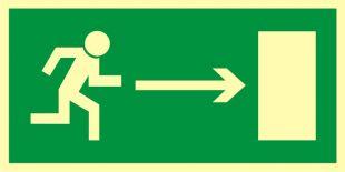 Kierunek do wyjścia drogi ewakuacyjnej w prawo - znak ewakuacyjny - AA002