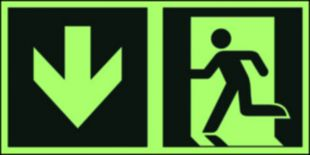 Kierunek do wyjścia ewakuacyjnego – w dół (lewostronny) - znak ewakuacyjny - AAE104
