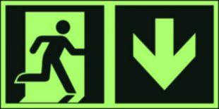 Kierunek do wyjścia ewakuacyjnego – w dół (prawostronny) - znak ewakuacyjny - AAE109