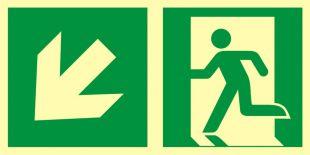 Kierunek do wyjścia ewakuacyjnego – w dół w lewo - znak ewakuacyjny - AAE103