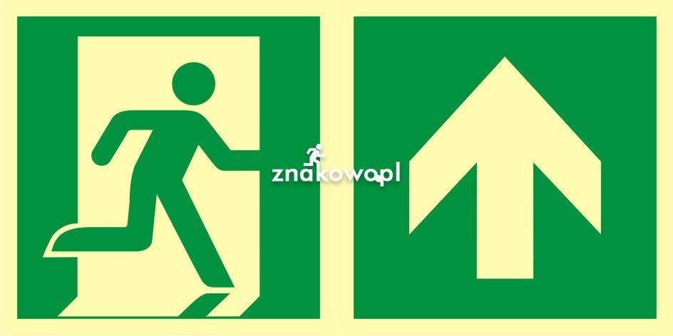 Kierunek do wyjścia ewakuacyjnego – w górę (prawostronny) - znak ewakuacyjny - AAE105 - Znaki bezpieczeństwa – wymagania konstrukcyjne i normy