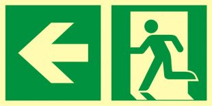 Kierunek do wyjścia ewakuacyjnego – w lewo - znak ewakuacyjny - AAE102