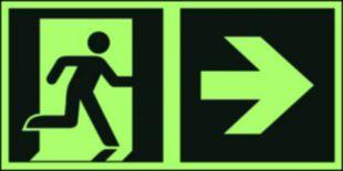 Kierunek do wyjścia ewakuacyjnego – w prawo - znak ewakuacyjny - AAE107